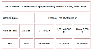 Spicy Cranberry Salsa Process Chart